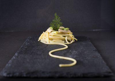 Spaghetto al coniglio marinato, finocchietto selvatico e birra di Eleonora Tirrito