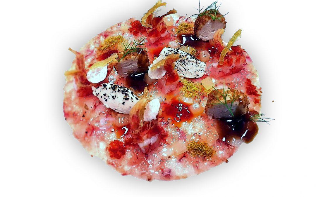 Composizione di gambero rosso, maialino e agrumi di Simone Gottardello